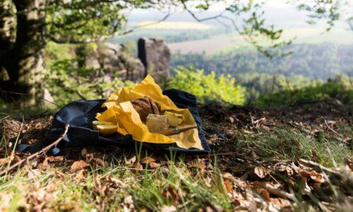 Käse, Brot und ein Apfel eingewickelt in einem gelben Bienenwachstuch, im Hintergrund sieht man einen Felsen der Sächsischen Schweiz.